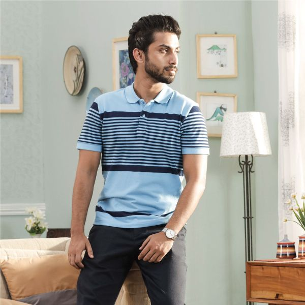 Men Pique Striped Indigo polo shirt