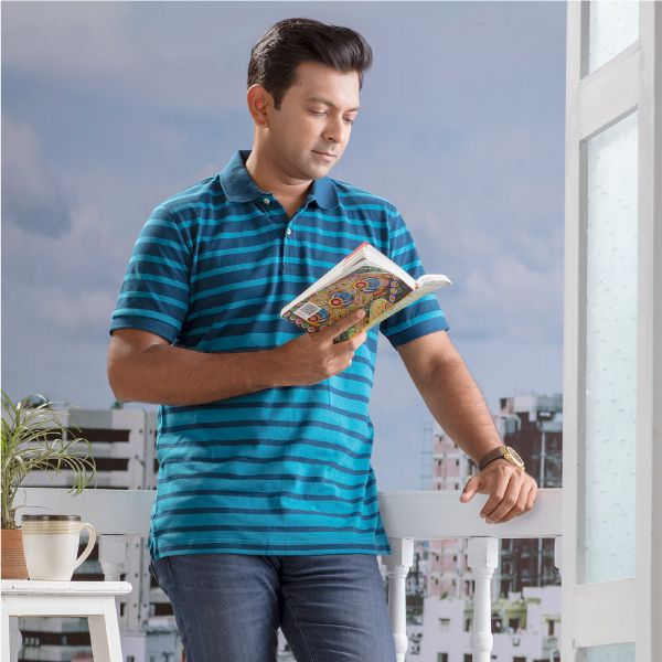 Pique Striped Polo Shirt (S) B
