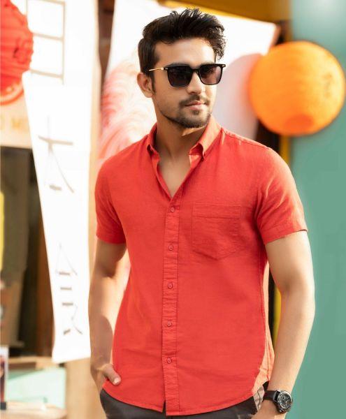 Cotton Linen Short Sleeve Shirt (S)