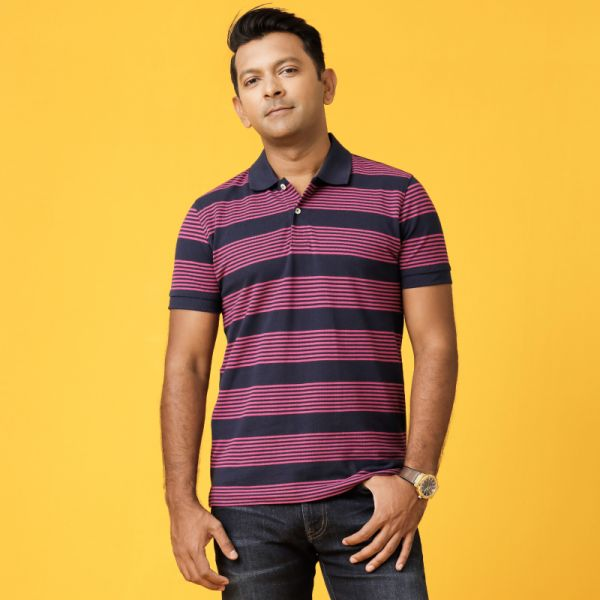 Pique Striped Polo Shirt (S) A