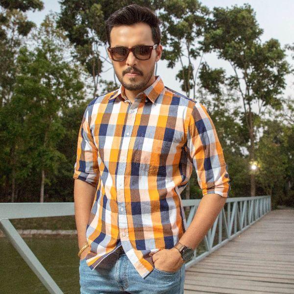 Check shirt (L) B