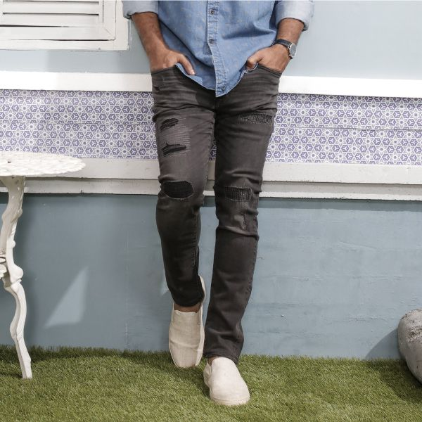 Men Skinny Fit Tapered Design Jeans