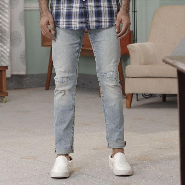 Men Slim Fit Straight Design Jeans