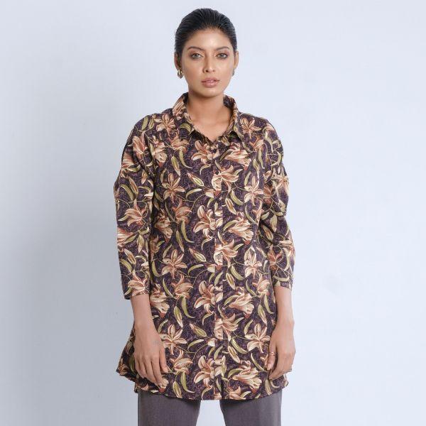 W Printed Long Shirt (L) A