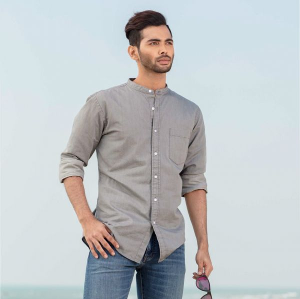 Slim fit denim stand collar shirt (L)